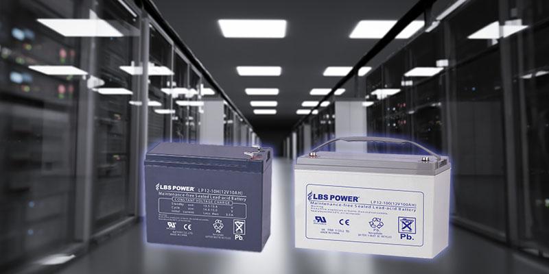 ups batteries on data center background